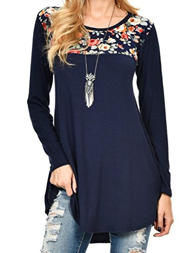 Qearal Women's Floral Print Patchwork Long Sleeve Scoop Neck Swing T Shirt Tunic Tops (L, Navy (Women Tunic Tops)