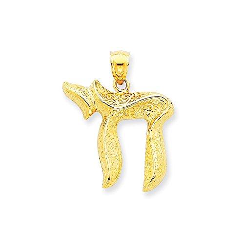 14k Yellow Gold Jewish Chai (Long Life) (Gold Chai Pendant)