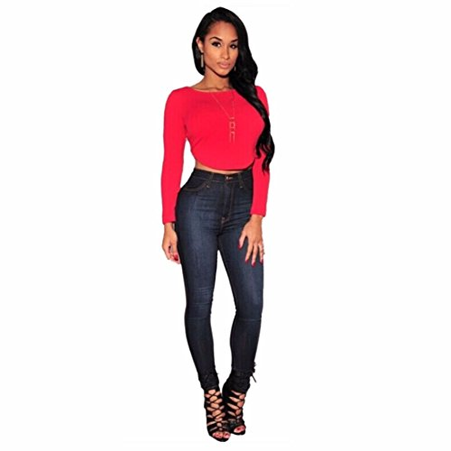 manga larga del tanque del bodycon de la blusa de la senora de las tapas del verano camiseta ocasional Rojo