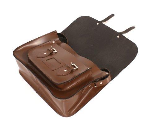 Oxbridge Satchel's - Bolso estilo cartera de cuero para mujer marrón