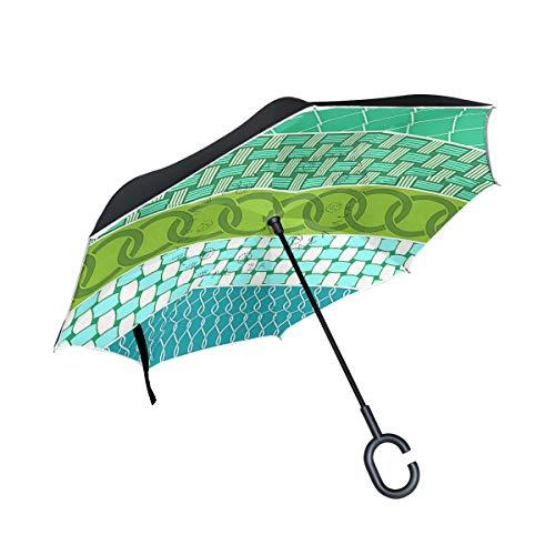 Reverse Umbrella,Crosshatch Pattern Free Inverted Night Reflective Edge Golf Umbrellas,Double Layered Polyester Canopy,O-Shape Handle