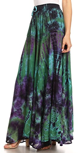 Ester lastique Jupe Dye Sakkas tie Full Boho Simple Taille Femmes Vert avec Maxi Circle pdqd7A
