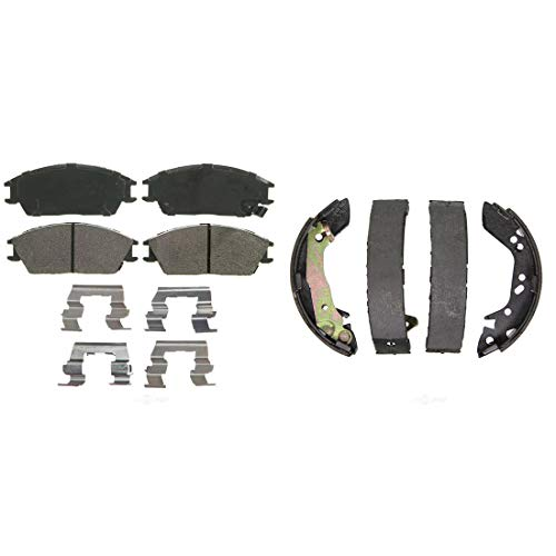 (AutoDN Front and Rear Disc Brake Pads and Brake Shoes Set For HYUNDAI ACCENT 2001-2002)