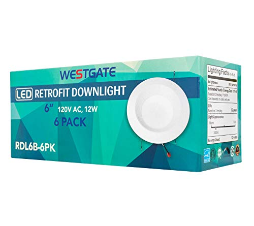 """Stateside Lighting 6 Pack 19W 6"""" Inch Recessed Lighting Kit Dimmable LED Retrofit Downlight with Integrated Baffle Trim - Best Ceiling Light 120V - 5 Year Warranty (5000K)"""