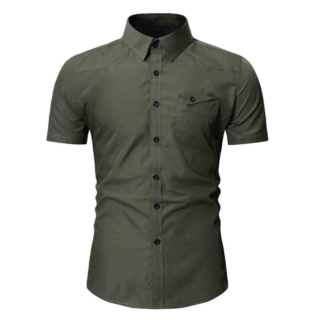 NUWFOR Fashion Men's Button Personality Pocket Short Sleeve T-Shirt Blouse Tops(Army Green,M US Chest:40.16''