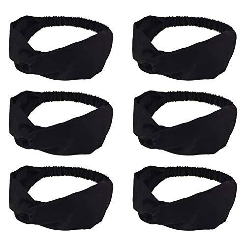 DRESHOW 6 Pack Headbands for Women Boho Headbands Vintage Flower Printed Criss Cross Elastic Head Wrap