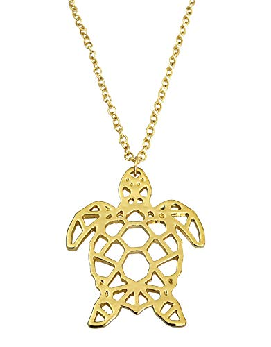 - Altitude Boutique Geometric Turtle Necklace for Women Girls Ocean Sea Tortoise Silver Gold (Gold)