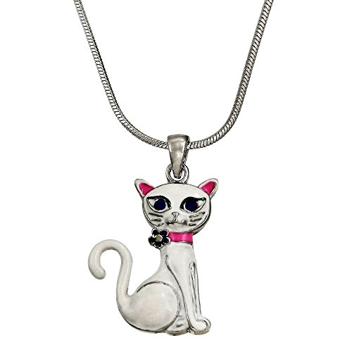 DianaL Boutique White Kitty Cat Pendant Necklace 18