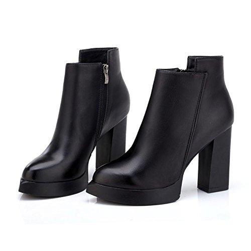 Duraderas Y Invierno Mujer De Tacón Fósforo 39 Grueso Agecc nbsp;botas Alto Con Black 35 Negro Cómodas Otoño Botas Femenino Todo q7IX5AEwx