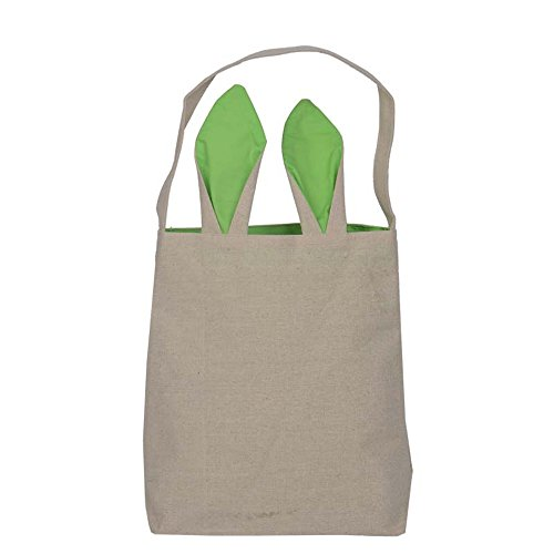 Bunny Bag,Govine Reusable Easter Bunny Ears Design Cotton Canvas Material Easter Egg Bags Carrying Eggs/Gifts for Festival/Party (Wild Horses Basket)