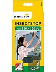 Schellenberg 50715 nylon horrengaas, muggen en insectengaas inclusief bevestigingstape, bevestiging zonder te boren, 130x150 cm, antraciet