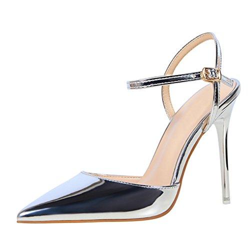 mode Cheville Escarpins Sexy Aiguille Bride Argent Haut Chaussures Soirée Vernis Talons Femme Oaleen aBnq7A