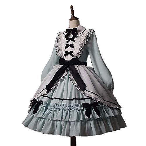 4 Colors Long Sleeve Cotton Classic Lolita Dress Sweet Cute Frill Frock Dress Girls Anime Cosplay Costume Plus Size ()