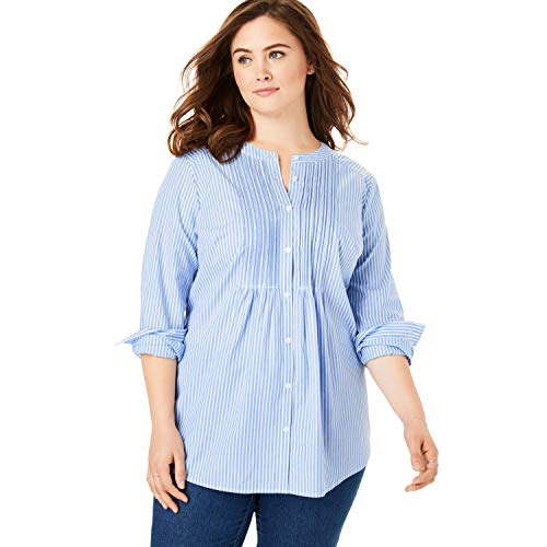 (Woman Within Women's Plus Size Perfect Pintucked Shirt - French Blue Stripe, 14/16)
