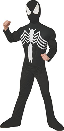 Kids Marvel Costumes (Rubie's Marvel Ultimate Spider-Man / Venom Deluxe Muscle Chest Black Costume, Child Medium - Medium One Color)