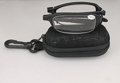 SOOLALA 3 Pairs Black Mini TR90 Folding Reading Glasses with Clip Holder Zipper Case 7 Strengths, +1.5D
