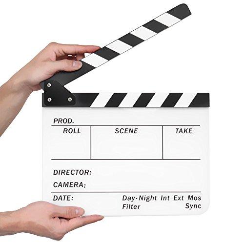 Flexzion Director Clapboard Film Movie Clapper Board Acrylic Plastic Dry Erase Stadio Camera TV Video Cut Action Scene Slate Board 10x12 with Black/White Sticks