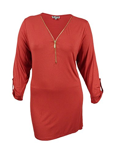 JM Collection Women's Plus Size Front-Zip Handkerchief-Hem Top (3X, Rusty Red) from JM Collection