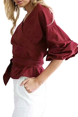 CV-cuello Puff manga Bowknot camisa de las mujeres Red