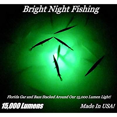Image of 15,000 Lumen 30ft Cord Waterproof AC Underwater Fishing Light Green LED Submersible Dock Light, Attractants