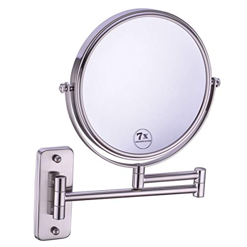 Anpean 8 Inch Double-Sided Swivel Wall Mounted Makeup Mirror with 7x Magnification, Brushed Nickel
