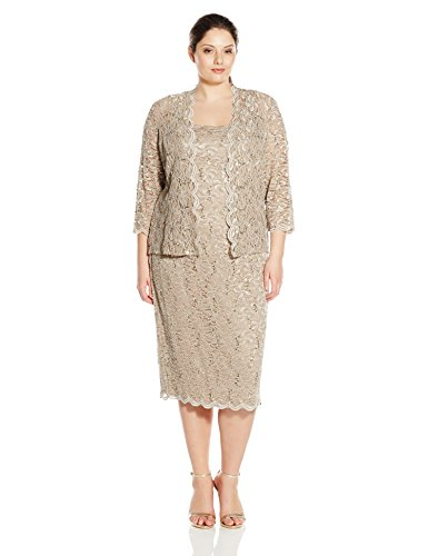 (Alex Evenings Women's 22W Plus Size Tea Length Lace Dress and Jacket, Champagne, 22W)