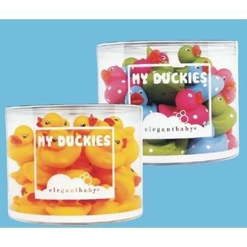 Elegant Baby Tiny Polka Dot Rubber Ducky (Assorted Colors) Bath Toys