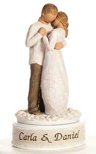 Willow Porcelain (Personalized Embroidery Willow Tree Promise Wedding Cake Topper By Wedding Collectibles)