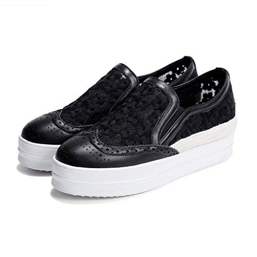 Plateforme Noir Brogue Roseg Dentelle Plateau Fait Espadrilles Femme Cuir Main Chaussures qwwH70v