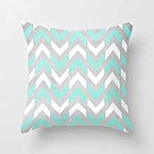 Teal & White Chevron Canvas Square Throw Pillow Covers Couch Pillow Case 18 x...