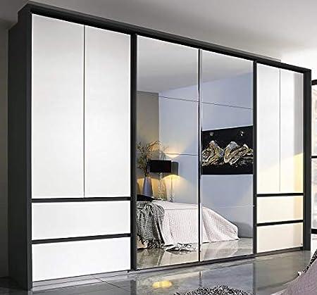 Armario con puertas correderas (8 puertas, 368 cm), color blanco y gris: Amazon.es: Hogar