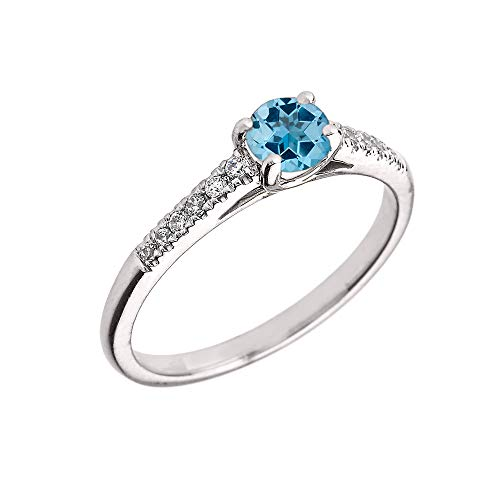 (Elegant Sterling Silver Diamond and Personalized Blue Topaz Birthstone Engagement/Proposal Ring (Size 11))