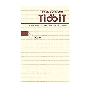 "Kokuyo Tidbit Free Cut Memo Pad - A7 (4.1"" X 2.9"") - 6 mm Lines - 80 sheets"