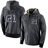 Littlearth Men's #21 Ezekiel Elliott Dallas Cowboys Salute to Service Hoodie Apparel - Anthracite M