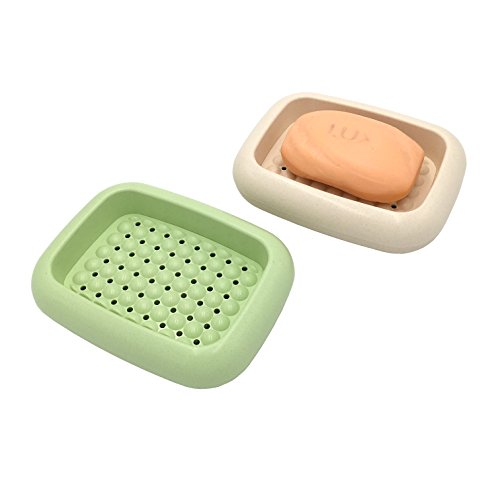 Passionier 2-Pack Bamboo Fibers Plastic Draining Soap Dish for Bathroom and Shower Morden Soap Tray Bar Soap Box Soap Holder With Drain(Green and Beige) by Passionier