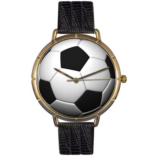 Whimsical Watches Women's N0840007 Soccer Lover Black Leather And Goldtone Photo Watch