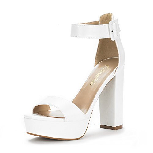 DREAM PAIRS Women's Hi-Lo White Pu High Heel Platform Pump Sandals - 11 M US