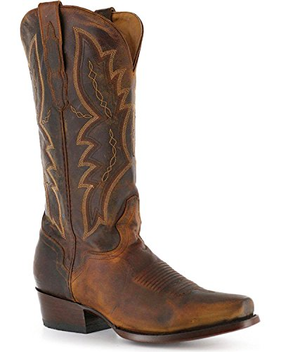 El Dorado Men's Handmade Distressed Goat Cowboy Boot Square Toe Brown 8.5 D(M) US Distressed Goat Cowboy Boots