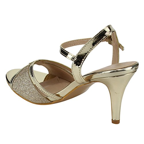 FOREVER FQ28 Womens Glitter Metallic Ankle Strap Buckle Wrapped Heel Sandals Gold Tnygh
