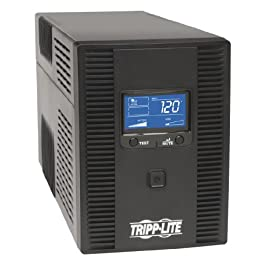 Tripp Lite UPS Smart LCD Battery Back Up Tower AVR 120V USB Coax RJ45 41 WORK THOUGH SHORT BLACKOUTS & MAINTAIN A NETWORK CONNECTION / SAVE FILES SAFELY DURING LONGER BLACKOUTS: 1500VA / 810W LCD Battery Backup Uninterruptible Power Supply (UPS) provides up to 55 minutes of runtime for an entry level PC system 5 Outlets provide UPS Power Backup & Surge Protection (for desktop, monitor, LCD, keyboard, external hard drive, wireless router, IoT device); 5 Outlets offer Surge Protection Only (ideal for printers and other electronics that are not essential in a blackout) Line Interactive Automatic Voltage Regulation / AVR circuits continuously correct brownouts and overvoltage from 92 to 150V without using battery power, offers 7.5 minutes runtime 50% load (405 watts)