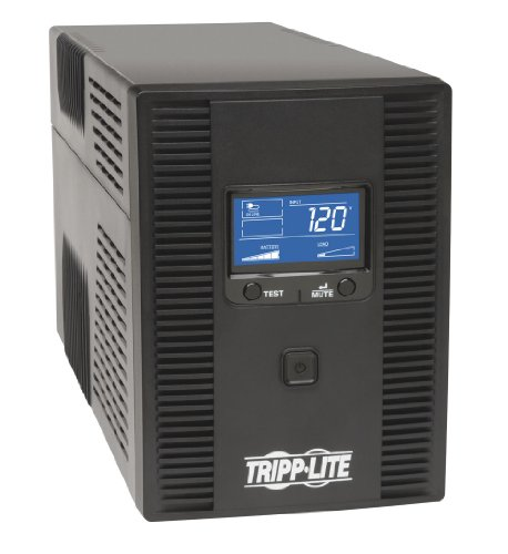 Tripp Lite 1500VA 900W UPS Battery Backup, AVR, LCD Display, Line-Interactive, 10 Outlets, 120V, USB, Tel & Coax Protection (SMART1500LCDT)