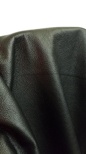 """NAT Leathers Black Vintage Soft Upholstery Chap Cowhide 2.5 oz Genuine Leather Hide Skin 22 to 24 Square Feet (33""""x55"""") Produced in Italy (Black)"""