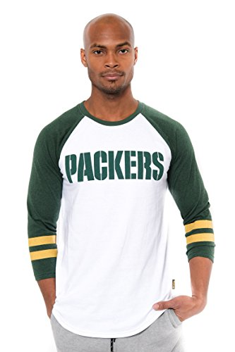 NFL Men's Green Bay Packers T-Shirt Raglan Baseball 3/4 Long Sleeve Tee Shirt, X-Large, White (Bay Green T Shirt Packers)