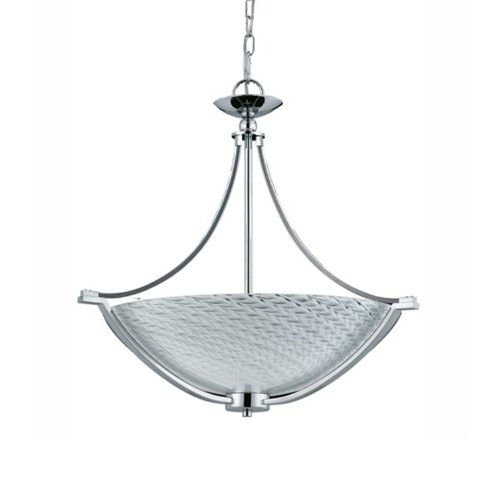 Triarch International Lighting 39472 Halogen VII Collection 4-Light Pendant, Polished Chrome Finish with White Hand-Blown Art Glass Shade