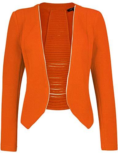 Tan Blazer Jacket - Michel Women's Open Front Lightweight Cardigan Blazer Jacket Orange Large