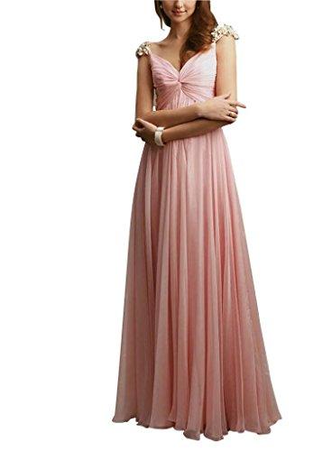 mit Spalte GEORGE Applikationen Rosa Chiffon Perlen BRIDE V Abendkleid Ausschnitt Rosa bodenlangen 77Ew8Txr