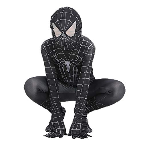 Boys Venom Black Spiderman Costume Kids Cosplay Spandex Bodysuit Halloween Costume -