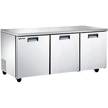vortex refrigeration commercial 3 door 72 under counter refrigerator 24 cu - Commercial Undercounter Refrigerator