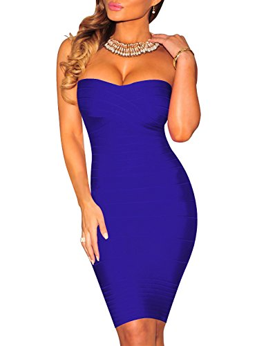 Fbeauty Women's Strapless Bandage Cocktail Bodycon Dresses FB15258 (XL, Darkblue)