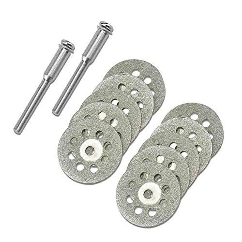 MUZIXU Diamond Cutting Wheel Cut Off Discs Coated Rotary Tools W/Mandrel 22mm for Dremel(10pc) (Diamond Wheel Rotary Tool)